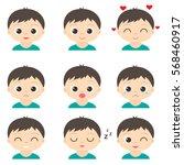 cute cartoon boy with different ... | Shutterstock .eps vector #568460917