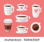 set of cartoon style cup.... | Shutterstock .eps vector #568465069
