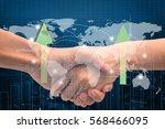 double exposure business hand... | Shutterstock . vector #568466095