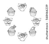 sketch cupcakes and muffins... | Shutterstock . vector #568466239