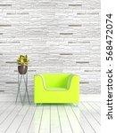 modern bright interior . 3d... | Shutterstock . vector #568472074