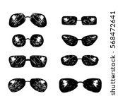 set of hand drawn sunglasses....   Shutterstock .eps vector #568472641