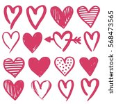hand drawn hearts. design... | Shutterstock .eps vector #568473565