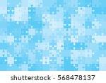 150 blue puzzles pieces... | Shutterstock .eps vector #568478137