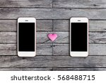 mobile phone with blank screen... | Shutterstock . vector #568488715