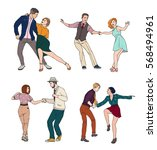 set of a young couple dancing... | Shutterstock .eps vector #568494961