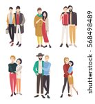 gay couples flat colorful... | Shutterstock .eps vector #568498489