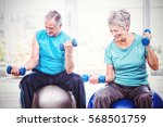 smiling senior couple holding... | Shutterstock . vector #568501759