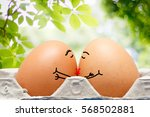 two eggs with love for each... | Shutterstock . vector #568502881
