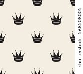 seamless monochrome crown... | Shutterstock .eps vector #568508005