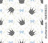 seamless glitter crown pattern... | Shutterstock .eps vector #568508221