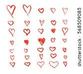 heart icons set  hand drawn... | Shutterstock .eps vector #568509085