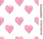 watercolor hearts seamless... | Shutterstock . vector #568509931
