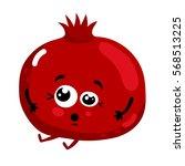 cute fruit pomegranate cartoon... | Shutterstock .eps vector #568513225