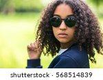 a beautiful sad moody mixed... | Shutterstock . vector #568514839