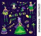 vector set of carnival mardi... | Shutterstock .eps vector #568515625