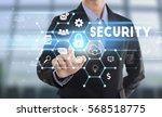 businessman hand pressing... | Shutterstock . vector #568518775