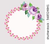 watercolor wreath of roses and... | Shutterstock . vector #568524841