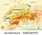 switzerland physical vector map ...