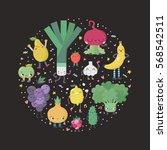 cute cartoon fruits and... | Shutterstock .eps vector #568542511