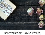 white pink dried roses and gift ... | Shutterstock . vector #568549405