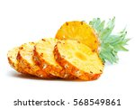 pineapple slices on white... | Shutterstock . vector #568549861