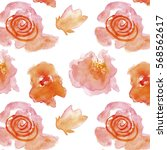 red flowers white background... | Shutterstock . vector #568562617