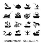 gardening and flowers icons.... | Shutterstock .eps vector #568563871