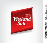 red  paper banner for weekend... | Shutterstock .eps vector #568569811