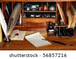 Old Writing Desk Full Of Quill...