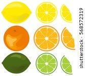 citruses  lemon  orange  lime ... | Shutterstock .eps vector #568572319