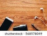 men's accessories on wooden... | Shutterstock . vector #568578049