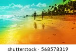 a couple walking at the resort... | Shutterstock . vector #568578319