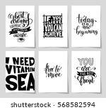 set of 6 hand written lettering ... | Shutterstock .eps vector #568582594