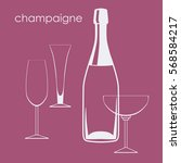 champagne bottle and glasses... | Shutterstock .eps vector #568584217