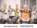 portrait of seniors using... | Shutterstock . vector #568588459