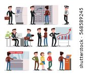 bank people set with customers... | Shutterstock .eps vector #568589245
