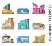 shopping mall building set with ... | Shutterstock .eps vector #568589734