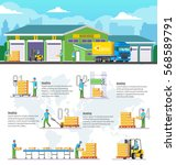 logistic warehouse infographic... | Shutterstock .eps vector #568589791