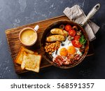 english breakfast in pan with... | Shutterstock . vector #568591357