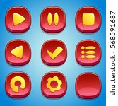 red buttons set. gui elements.