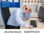 frustrated call center... | Shutterstock . vector #568594324