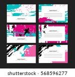 set of horizontal artistic... | Shutterstock .eps vector #568596277