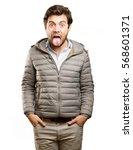 worried man doing a dislike... | Shutterstock . vector #568601371