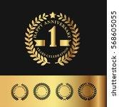 golden laurel wreath... | Shutterstock .eps vector #568605055