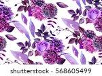 watercolor floral pattern.... | Shutterstock . vector #568605499