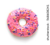 pink frosted donut with... | Shutterstock . vector #568608241