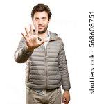 confident man five gesture | Shutterstock . vector #568608751