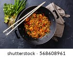 udon stir fry noodles with... | Shutterstock . vector #568608961
