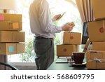 businessman use smartphone... | Shutterstock . vector #568609795